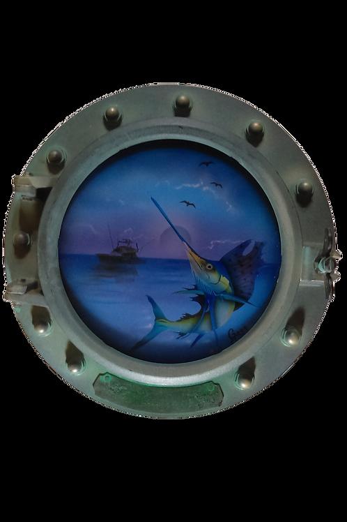 Porthole Round Decorative with Sailfish and Sailboat at Moonset