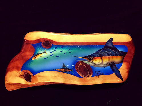 Cedar Slab w/ Marlins and Yellow Fin Tuna