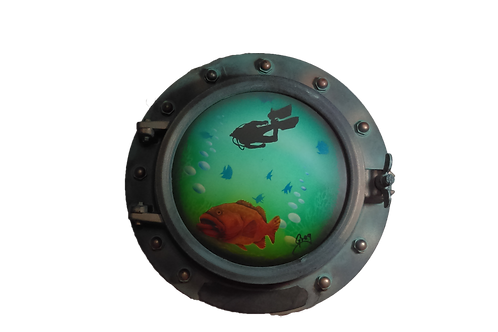 Porthole Round Decorative with Scuba Diver and Grouper