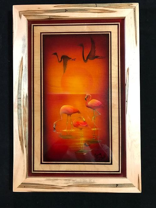 Flamingos in Ambrosia Maple Wood Frame