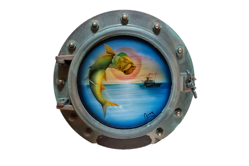 Porthole Round Decorative with Tarpon and Sailboat