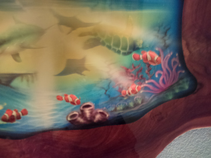 18in wide by 20 tall wall art under water nautical burmese teak wood hand dolphins clown f