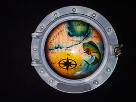 12 inch porthole with Florida Keys map r