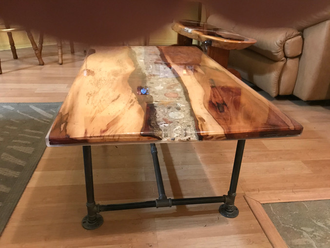 Pecan Shell Inlaid Coffee Table