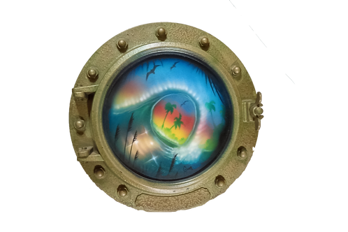 Porthole Round Decorative with Curling Wave and Palm Trees