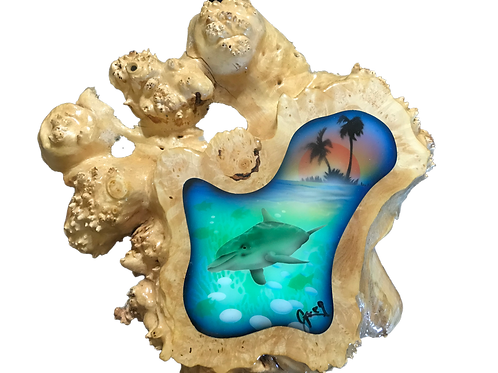 Maple Burl Wood with Dolphins, Palm Trees at Sunset Tropical Scene
