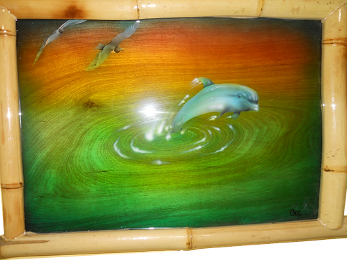 Bamboo Wood Framed Dolphin Jumping in Water