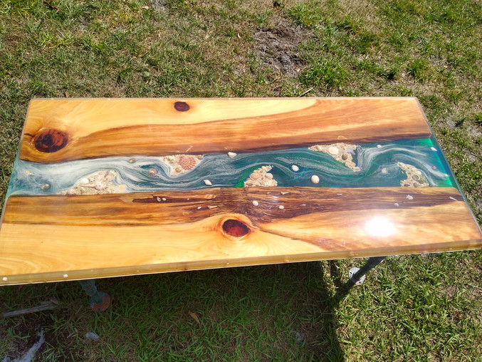 Cypress Blue Inlay Coffee Table