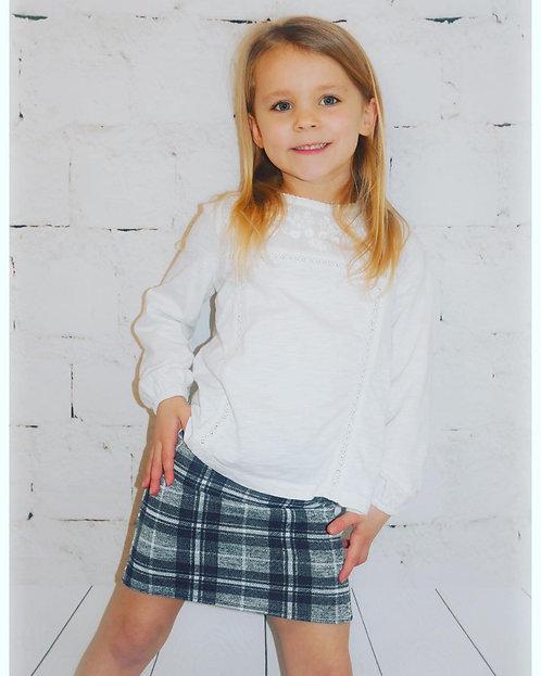 Checked Melange Grey Pencil Skirt