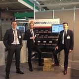 Sascha Feldhorst, Sascha Kaczmarek und Rene Grzeszick bei der Logistik-Messe mit Technologiedemonstrator und Akquise erster Pilotprojekte.
