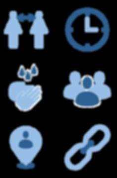 Corona-Icons: Abstand, Zeit, Händewaschen, Menschenmenge, Lage/Ort, Kontaktkette