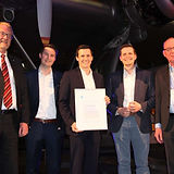 Die MotionMiners erhalten den VDI-Innovationspreis im Jahr 2019. Malcolm Harris, Sascha Kaczmarek und Sascha Feldhorst nehmen den Preis entgegen.