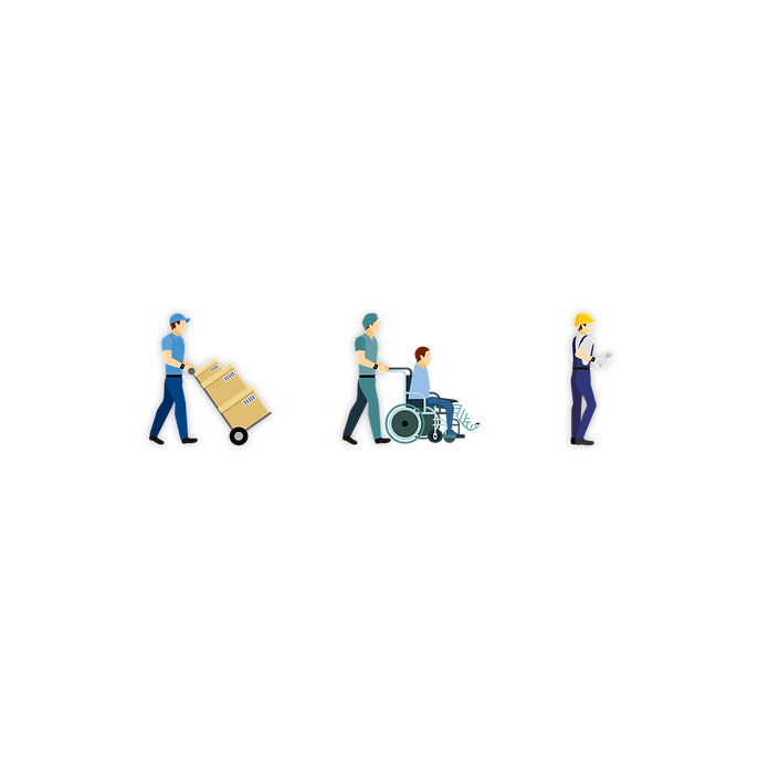 Schaubild Motion-Mining Prozessoptimierung in den Anwendungsbereichen: Logistik, Health Care und Produktion. Diagram Motion Mining Process optimization in application areas: logistics, health care and production.