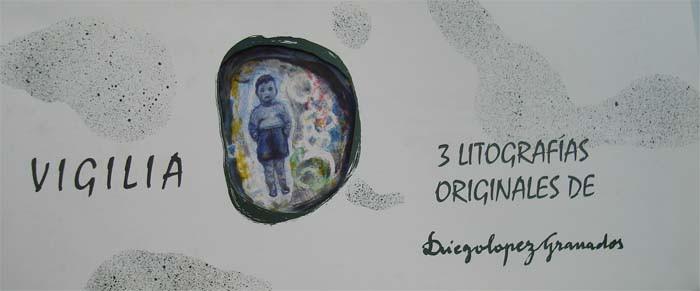 carpeta Vigilia 3 litografias con collag