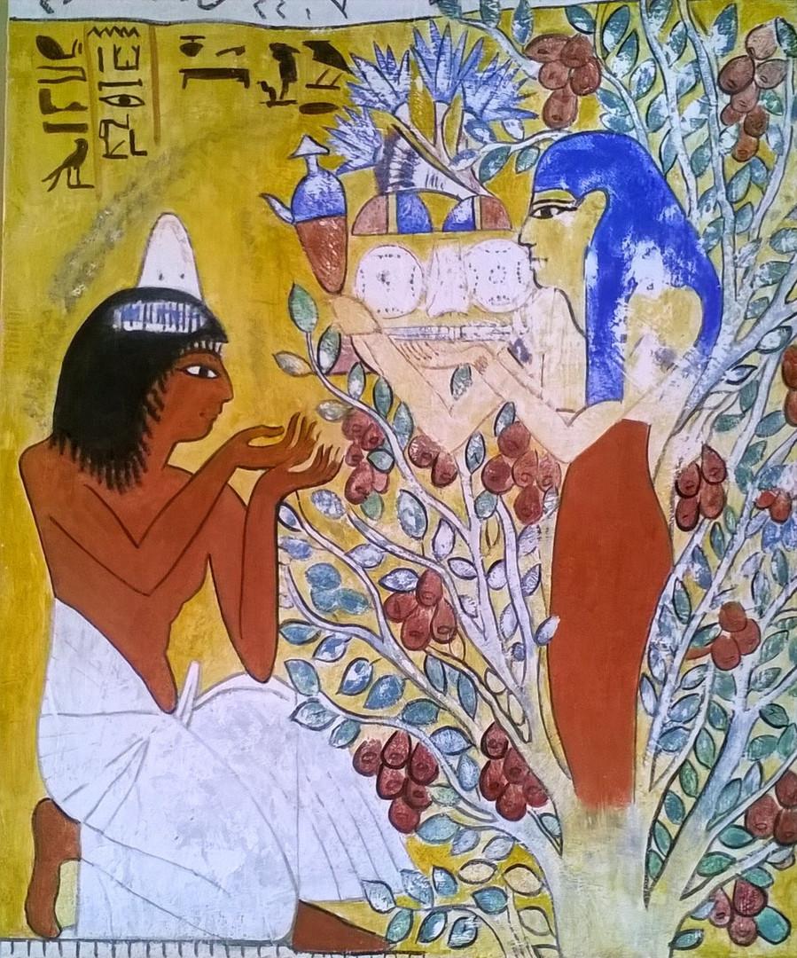 Reproducción de mural, tumba egipcia.