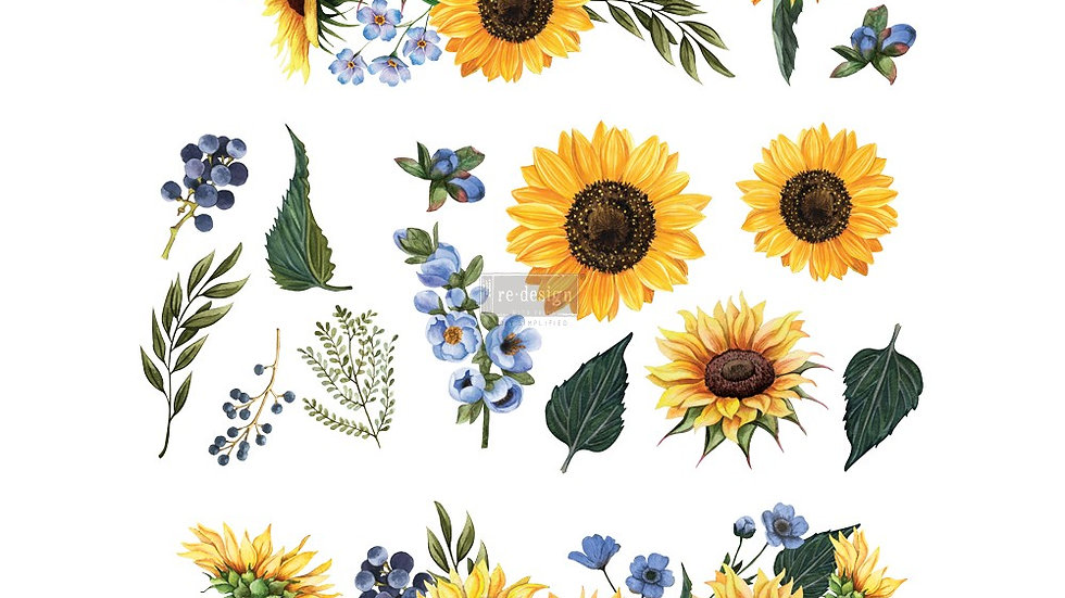 Sunflower Fields – 3 SHEETS (22″ X 30″) Transfer
