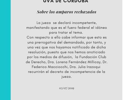 CÓRDOBA: El Colectivo autoconvocados #HipotecadosUVA sobre los amparos presentados