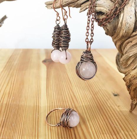 handmade earrings ring necklace stone