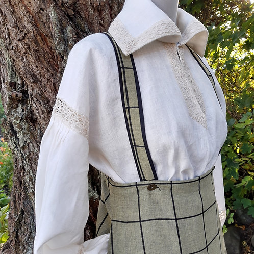 Handmade white linen shirt and cotton skirt
