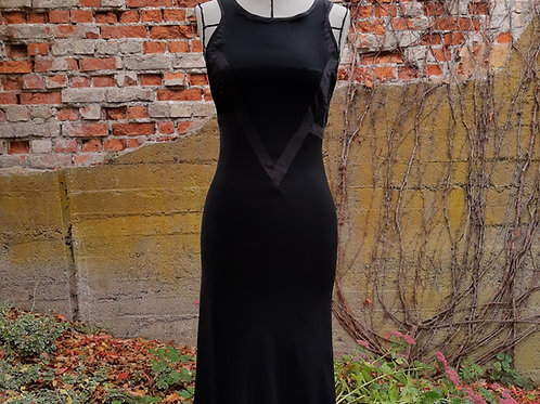 Exclusive black long 1920s silk crepe dress