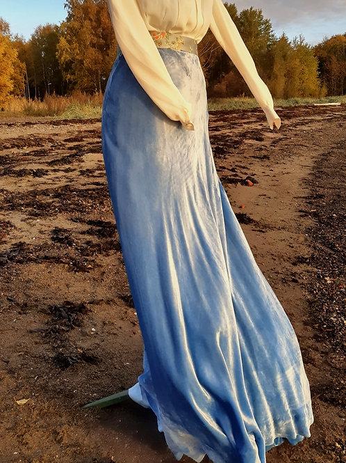 Beautiful and blue silk velvet skirt