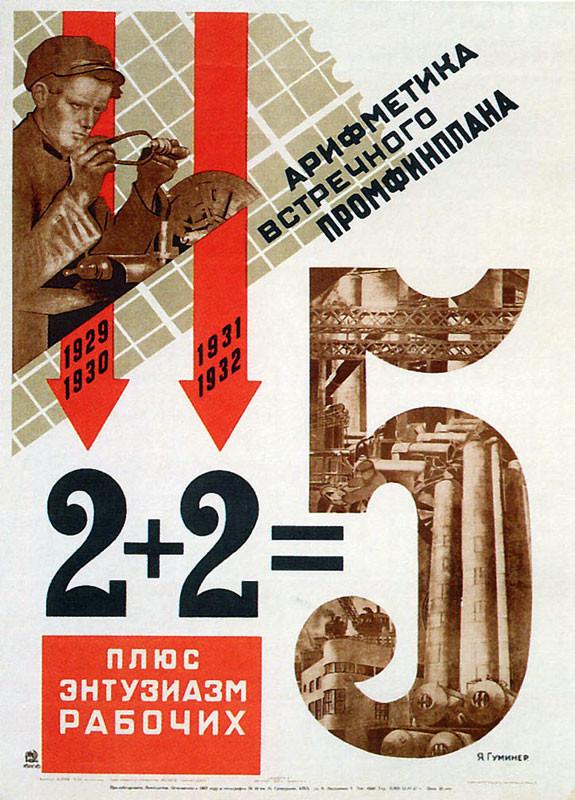 """Poster sovietico del 1931 che afferma """"2 + 2 più l'entusiasmo degli operai = 5"""""""