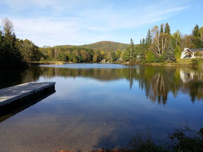 Photo vue d'un lac et des montagnes