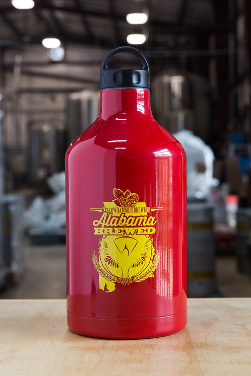 64oz Red Stainless Steel Growler