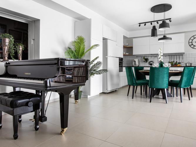עיצוב המטבח ופסנתר הכנף השחור וקונספט
