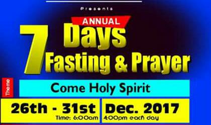 Join us to fast into the new year. God richly bless you.