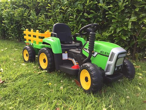12v Twin Speed Tractor & Trailer - Green