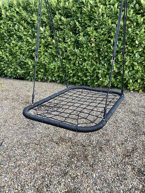 Rectangular nest basket swing seat for climbing frame Black