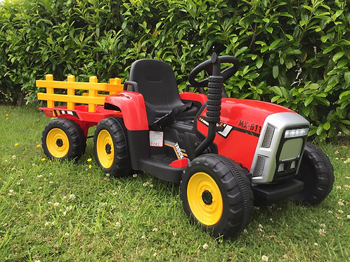 12v Kids  Ride on Tractor & Trailer - Red