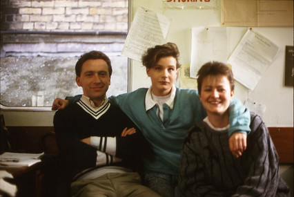 Thaddeus Breen, Gina Cahill and Cathy Quinn in the Portakabin. 23/3/88