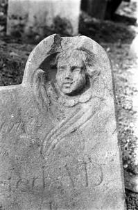 Detail of headstone: cherub's head and wings