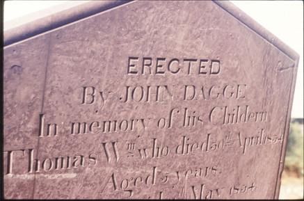 Headstone:  John Dagge 1834. 18/9/87