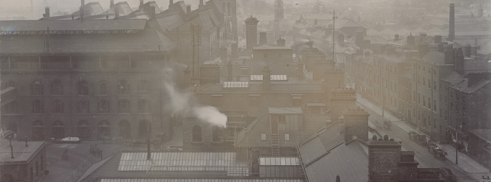Rooftop view looking east across upper level and James's Street at St. James`s Gate Brewery, c. 1906