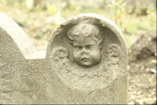 detail of headstone: head of cherub.  5/5/88
