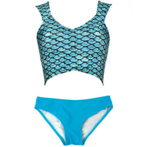 Adult Tidal Teal Cropped Top & Solid Bottom