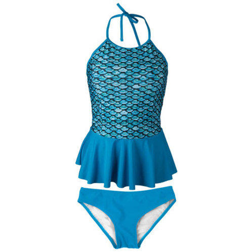 Adult Tidal Teal Tankini Top with Solid Teal Bottom