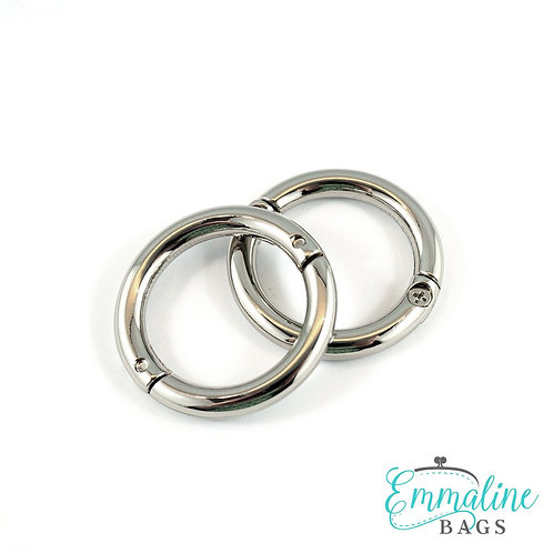 "Gate Rings (Screw Together): 1"" (25 mm) (2 Pack) - Nickel, Gold - Emmaline Bags"