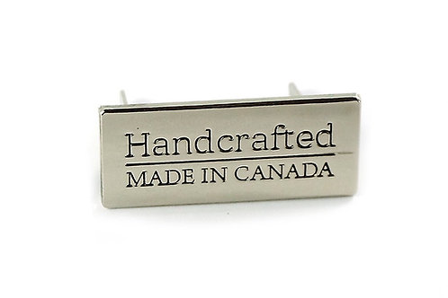 "Metal Bag Label: ""Handcrafted - Made in Canada"" - Emmaline Bags"