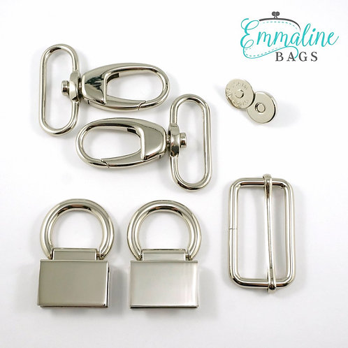 """The Double Flip Shoulder Bag"" - Hardware Kit - Nickel - Emmaline Bags"