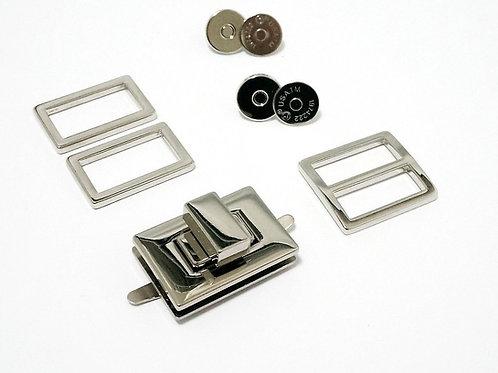 Hardware Kit: Butterfly Sling Purse - Nickel- Emmaline Bags
