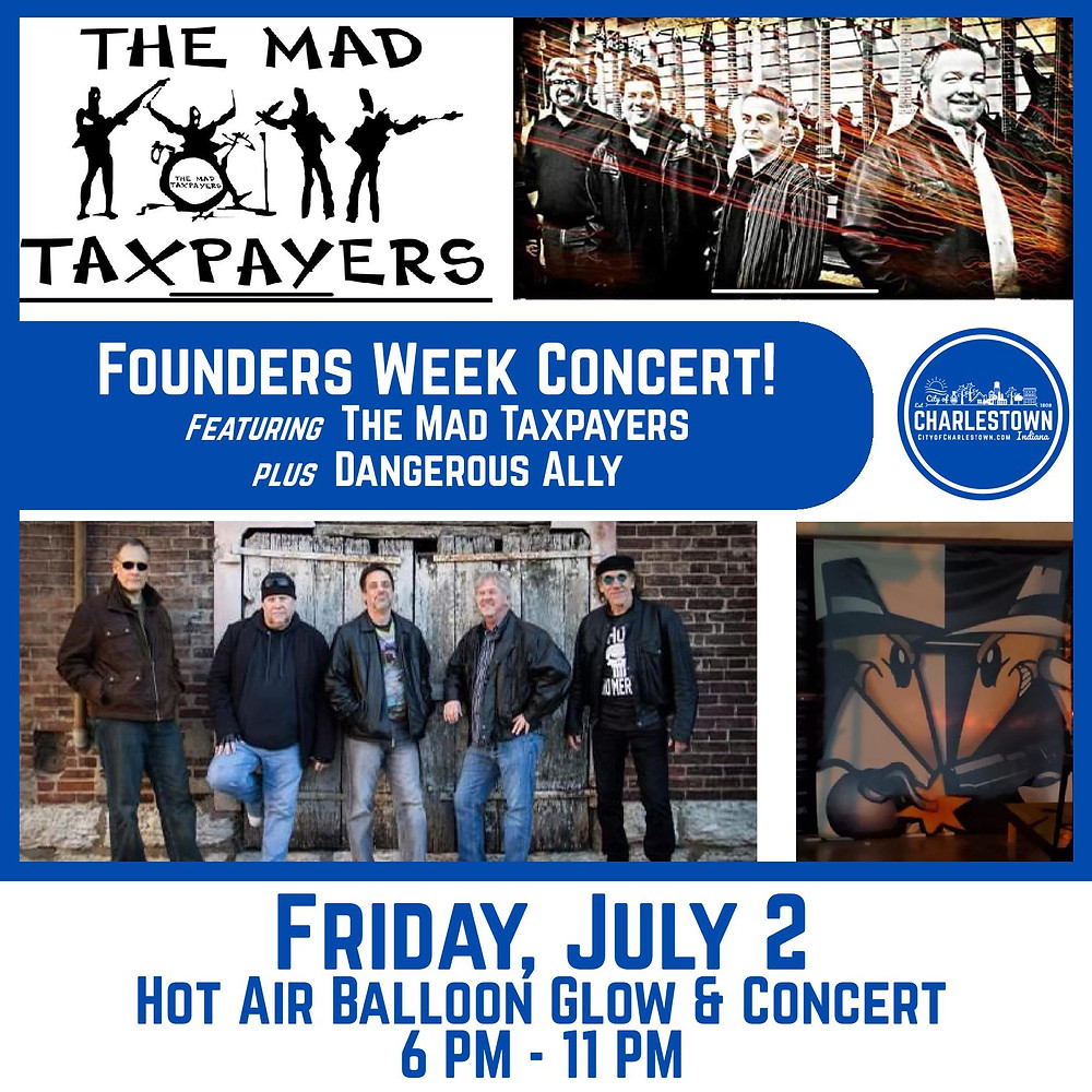City of Charlestown Founders Week Concert and Balloon Glow The Mad Taxpayers Dangerous Ally