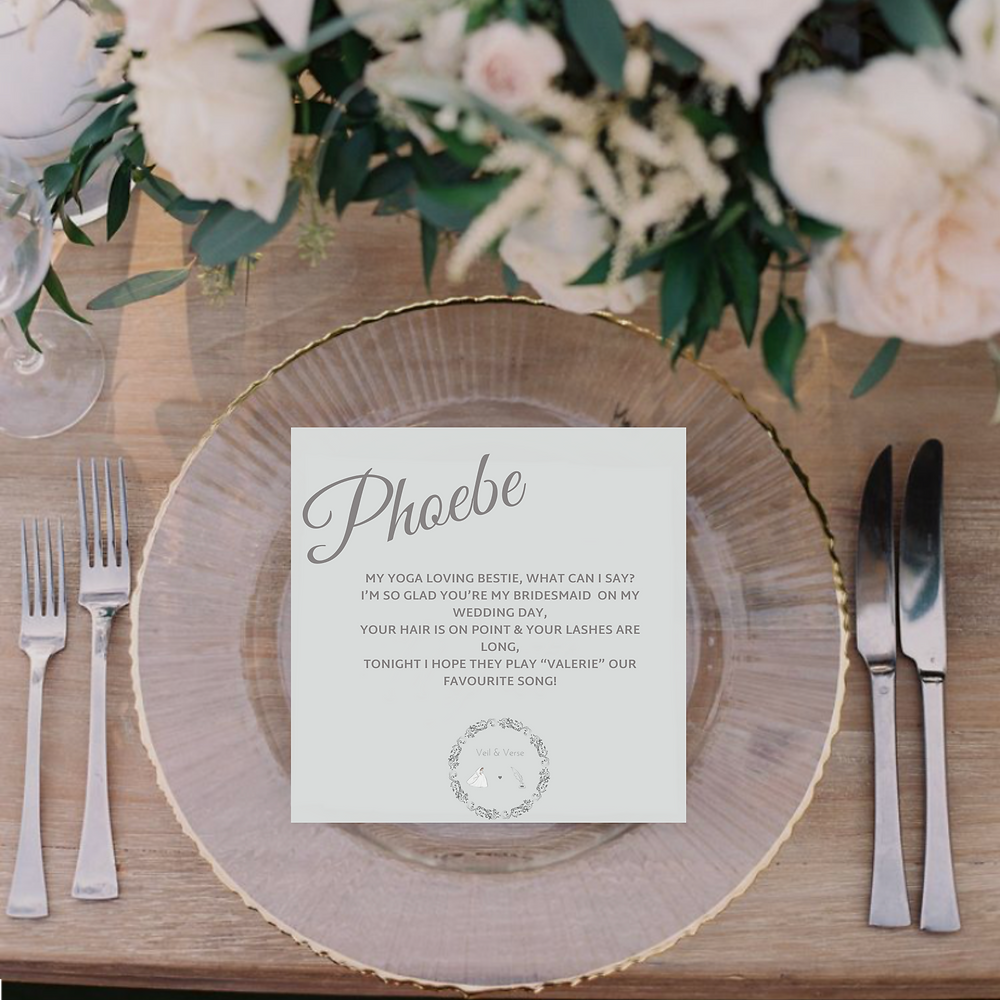 Our favour poems are a bestseller for brides and grooms looking for a truly unique touch for their wedding guests.