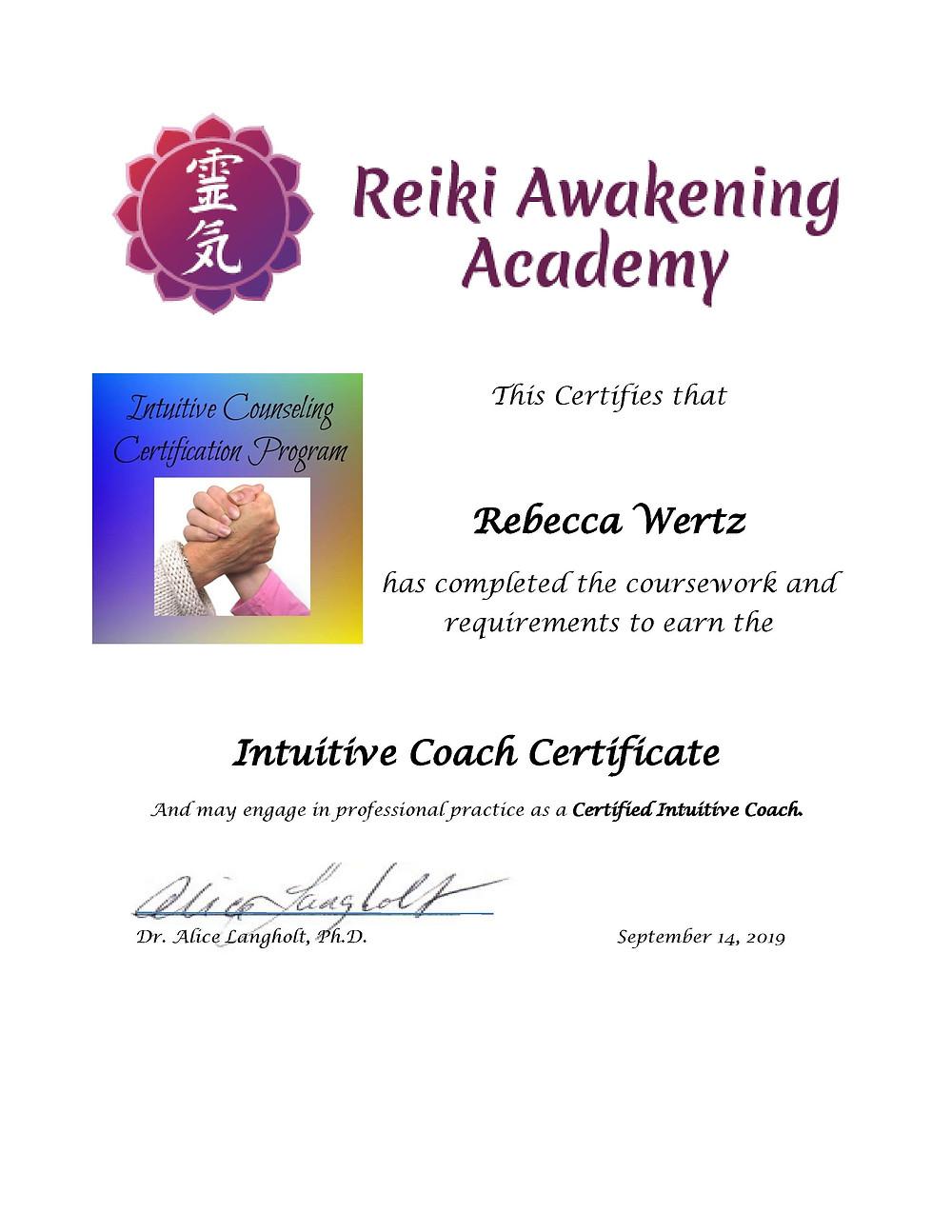 Intuitive Coach Certificate from Reiki Awakening Academy