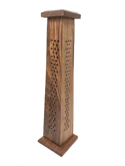Wood Tower Incense Burner, Hand Carved Net Design