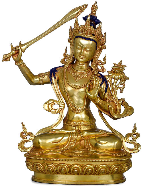 Statue, Manjushri, 24K Gold, Copper, 12 inches Tall, Very Fine, Only One