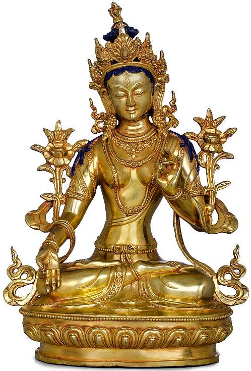 Statue, White Tara, 12.5 Inch Tall, 24K Gold Gild, Buddha, Goddess, Dakini